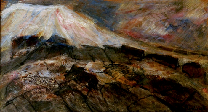 Paesaggio vesuviano con neve e lava recente, 1985, olio su tela, 50x100cm (Archivio Montarsolo)