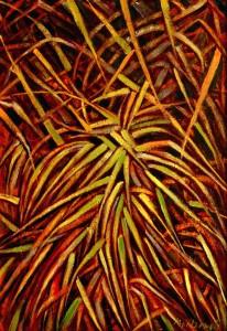 Fantasia di pianta decorativa su tono rosato - Olio su tela 70 x 100 - 2002