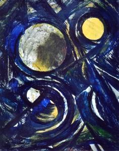 Sole e luna nel cosmo - Olio su tela 40 x 50 - 1994