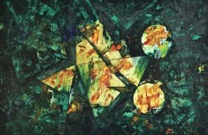 Satelliti in viaggio - Olio su tela 100 x 150 - 1993