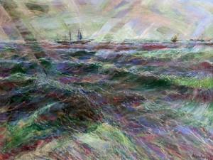 Mare in burrasca con vento di Libeccio, olio su tela 60x80, s.d.