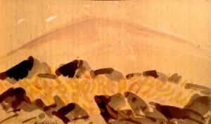 Studio per le lave, acqua colorata 30x50, 1957