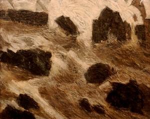 Il mare tra gli scogli. Olio su tela 100 x 80, 1985