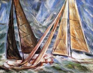 Vele della coppa America con mare agitato, Olio su tela, 2003 - Collezione Circolo Savoia, Napoli